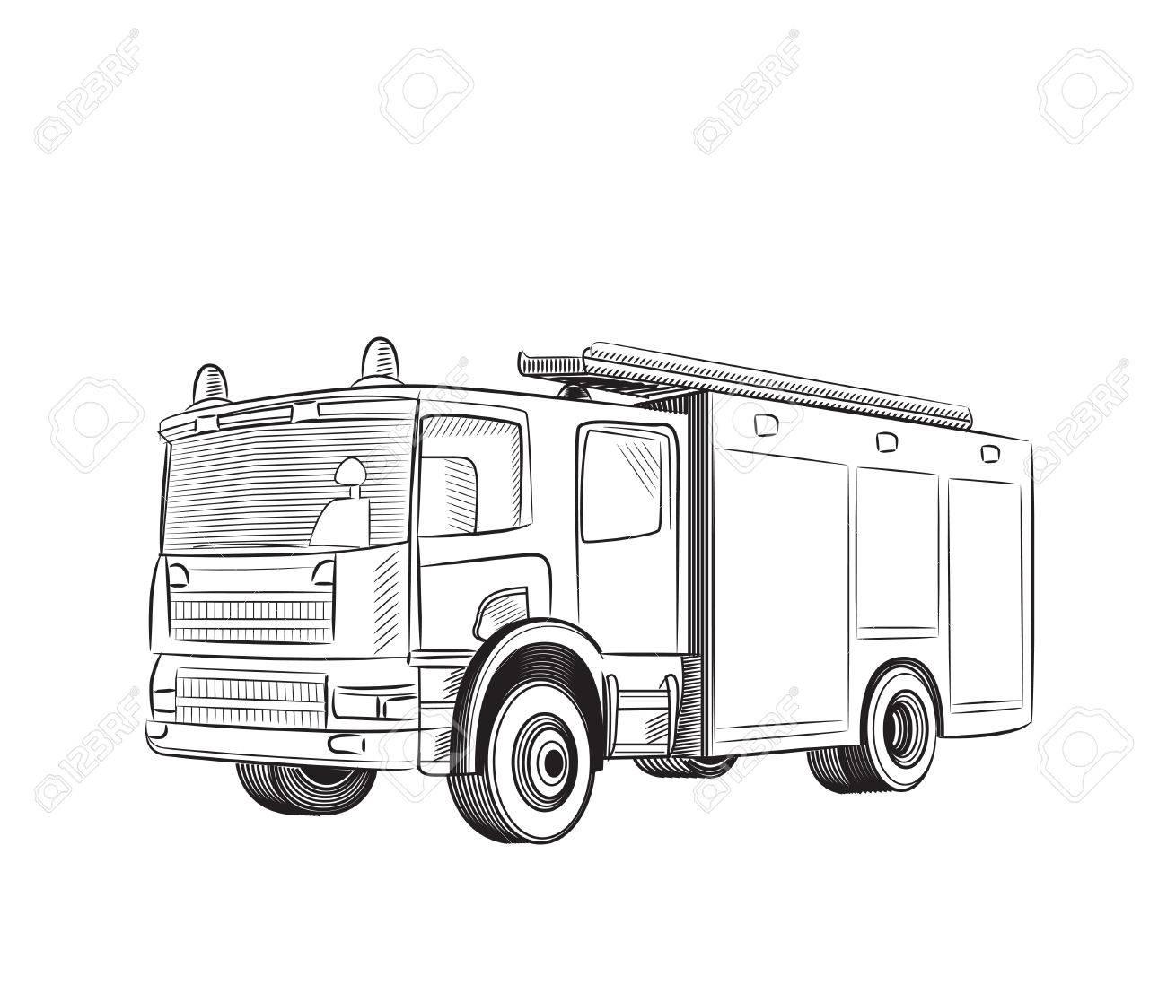 Contemporáneo Simple Camión De Bomberos Para Colorear Bosquejo ...