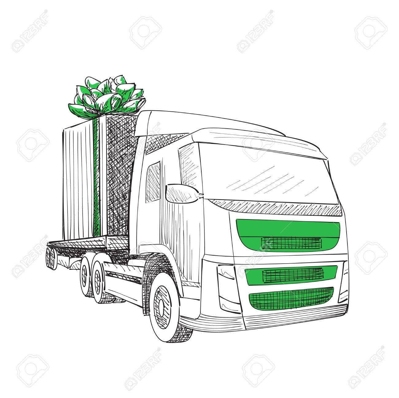 Truck van christmas gift box bow ribbon delivery service van truck van christmas gift box bow ribbon delivery service van new year greeting card m4hsunfo