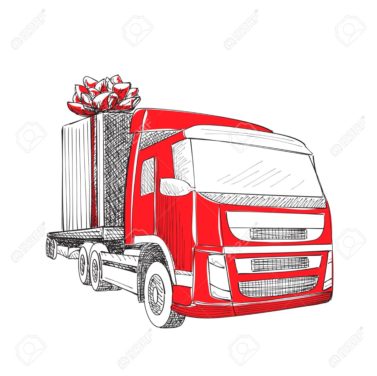 Truck van christmas gift box bow ribbon delivery service van truck van christmas gift box bow ribbon delivery service van new year greeting card m4hsunfo Gallery