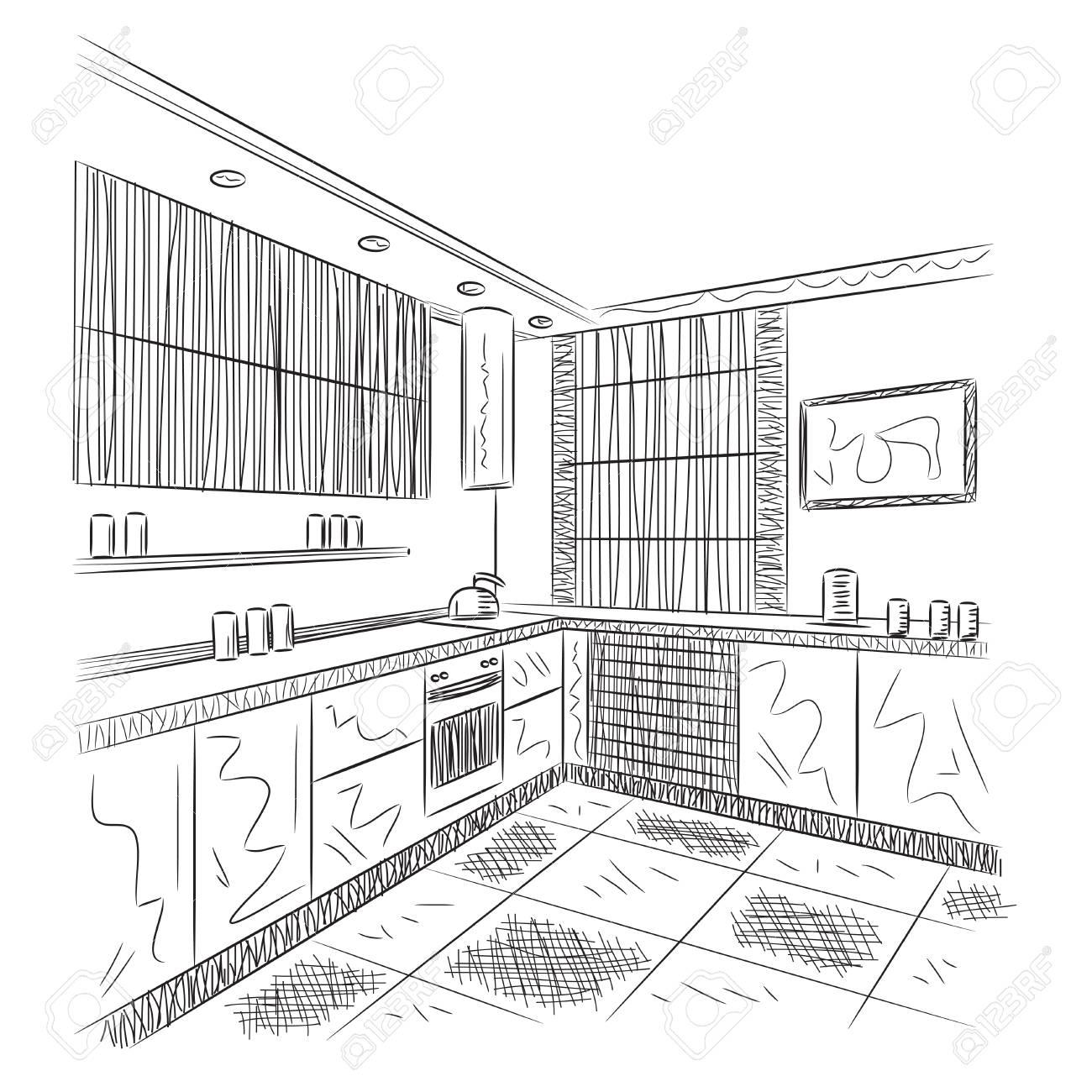 Küche Interieur Skizze. Hand gezeichnet Vektor-Illustration