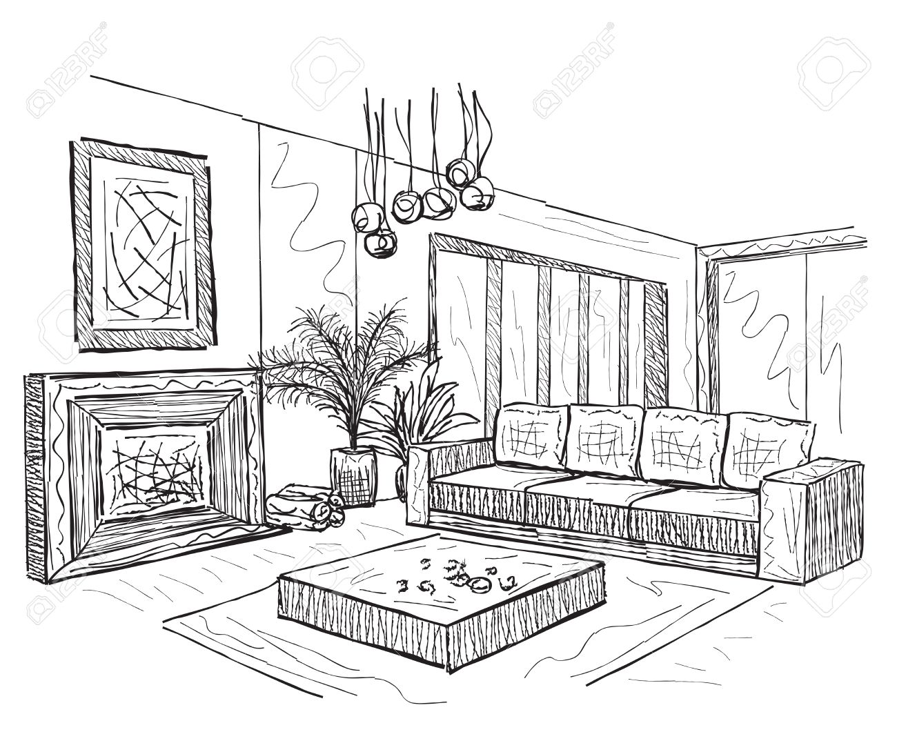 Room Interior Sketch. Hand Drawn Furniture In Living Room. Royalty ...