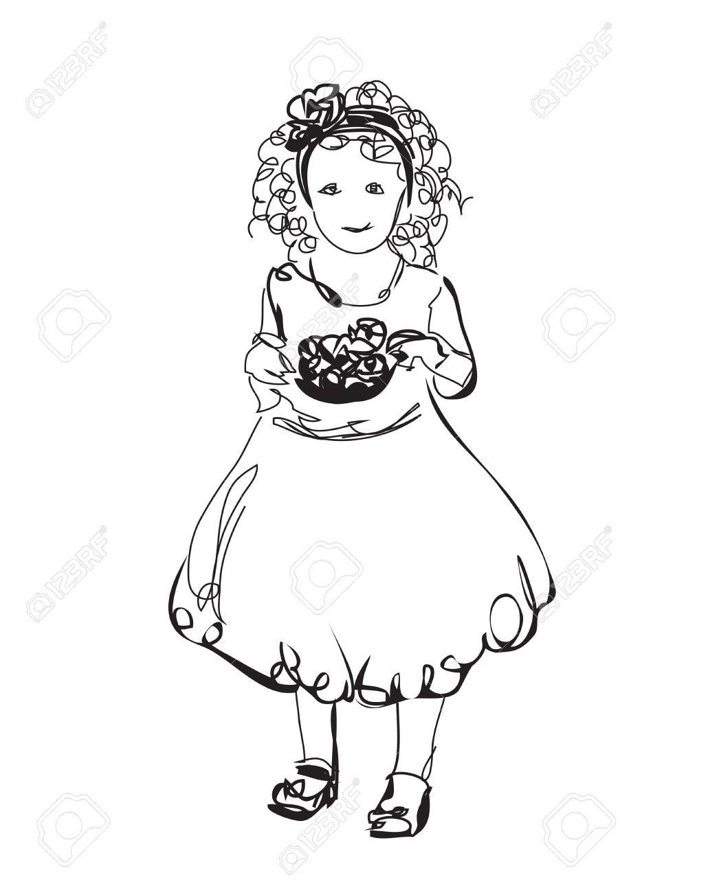 Little girl in the dress fashion baby sketch stock vector 49238382