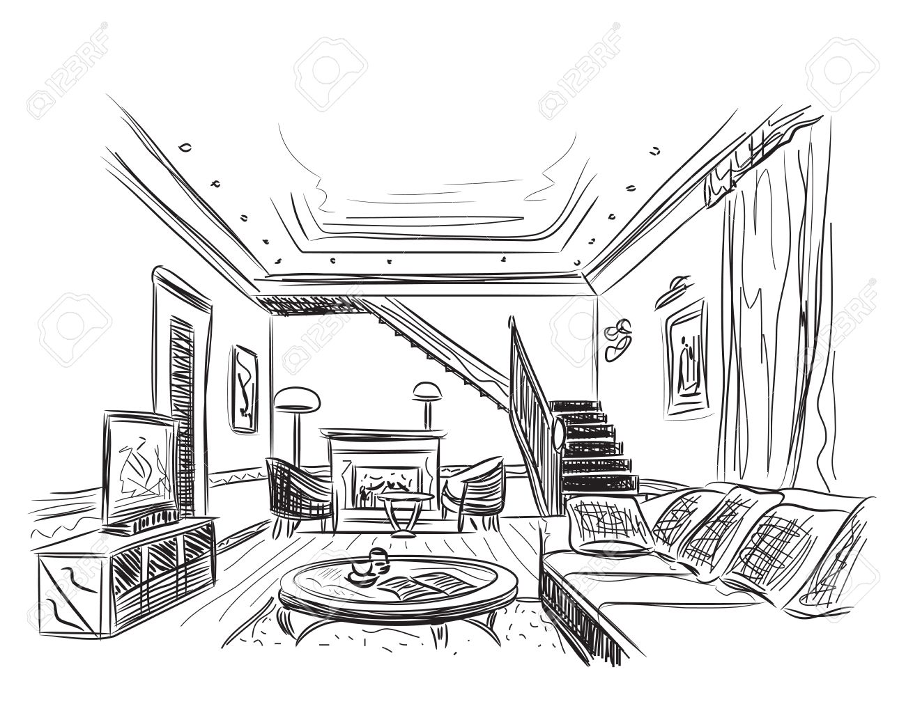 Modern interior room sketch. Hand drawn illustration. Stock Vector -  49238303