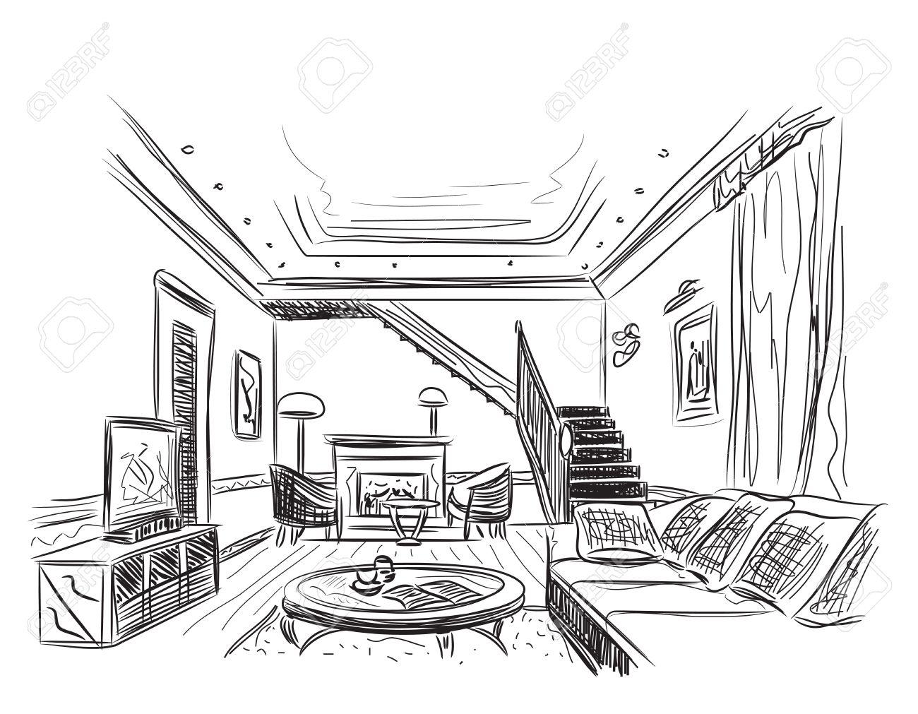Modern interior room sketch. Hand drawn illustration. - 49238303