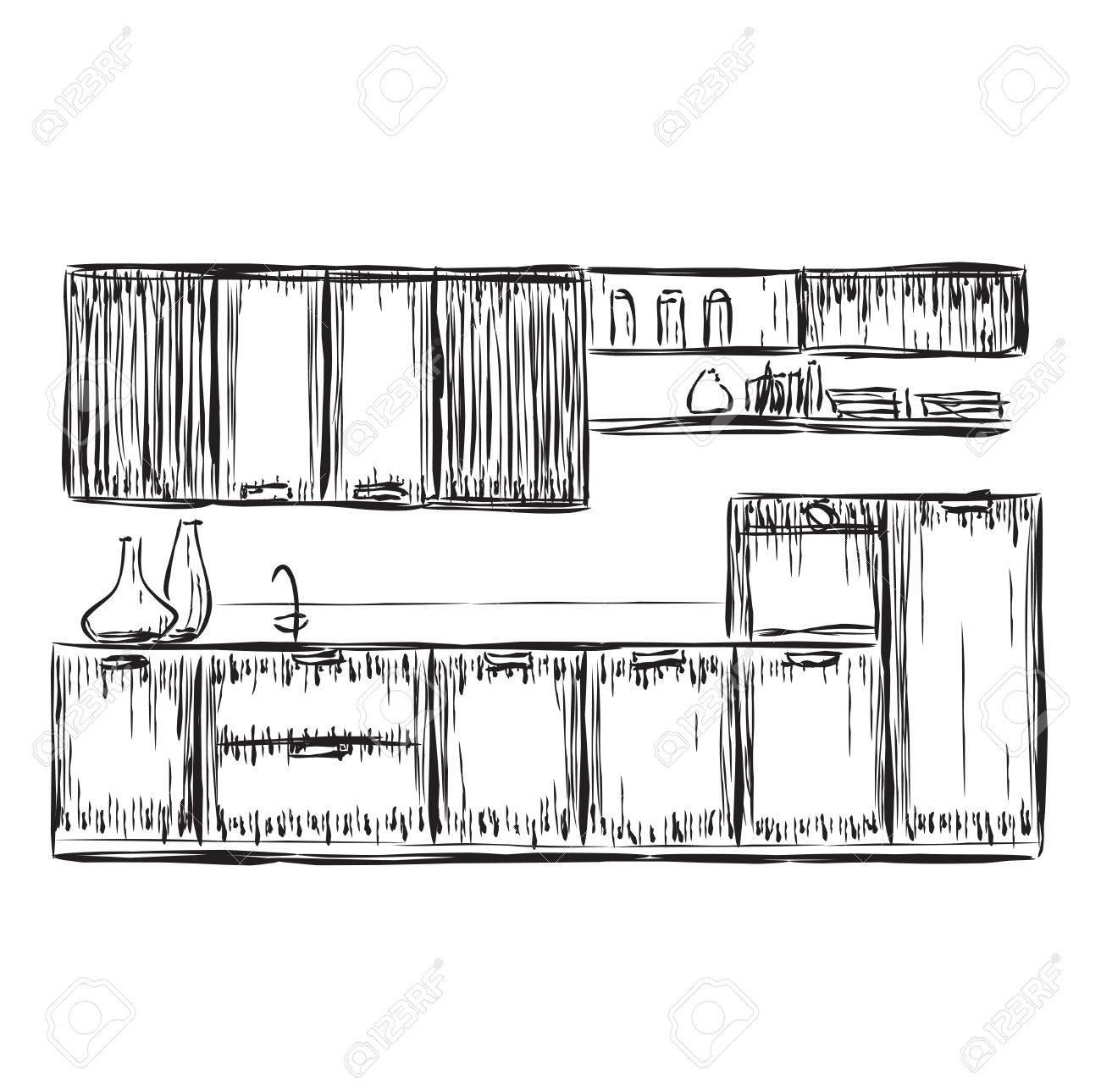 Küche Innenzeichnung, Vektor-Illustration, Möbel Skizze Lizenzfrei ...