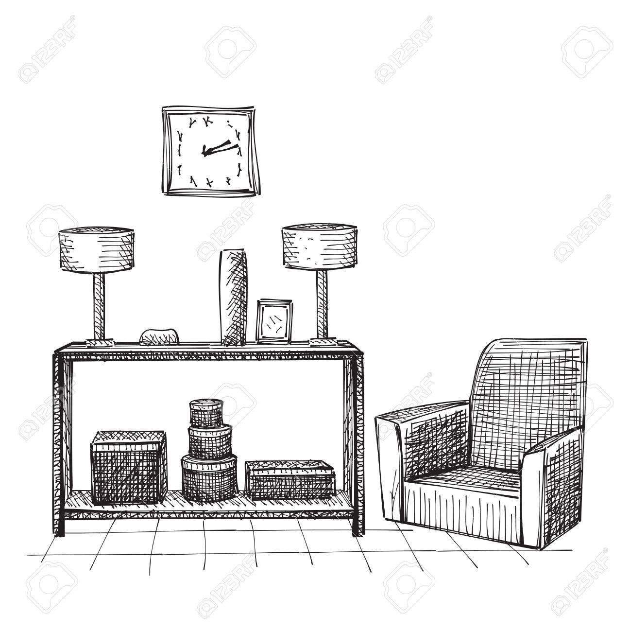Sessel gezeichnet  Hand Gezeichnet Rauminnen Skizze. Bequeme Sessel Und Tisch ...
