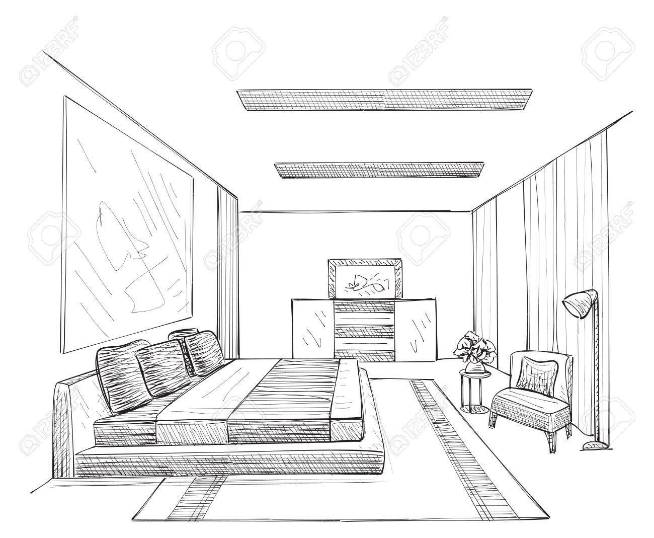 Chambre moderne dessin vectoriel intérieur isolé sur fond blanc
