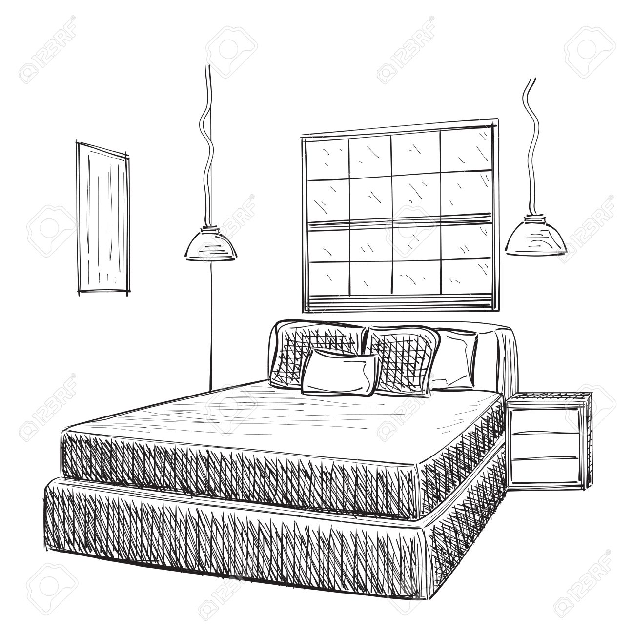 Bedroom drawing for kids - Bedroom Modern Interior Vector Drawing Isolated On White Background Stock Vector 49238169 Bedroom Modern Interior