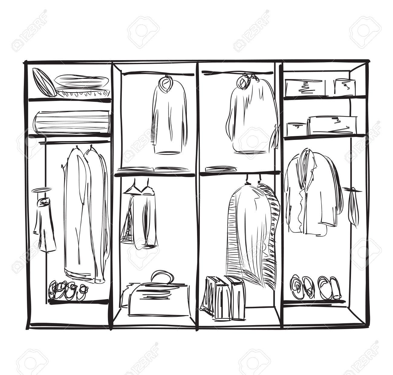 Kleiderschrank gezeichnet  Hand Drawn Wardrobe Sketch. Furniture For Clothes. Royalty Free ...