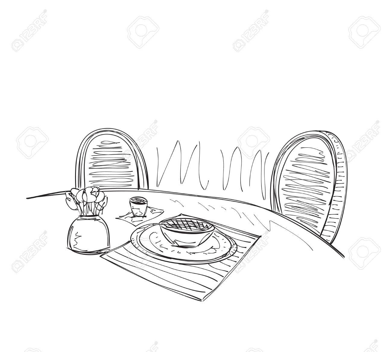 Kitchen Interior Sketch Table For Dinner With Chair Royalty Free
