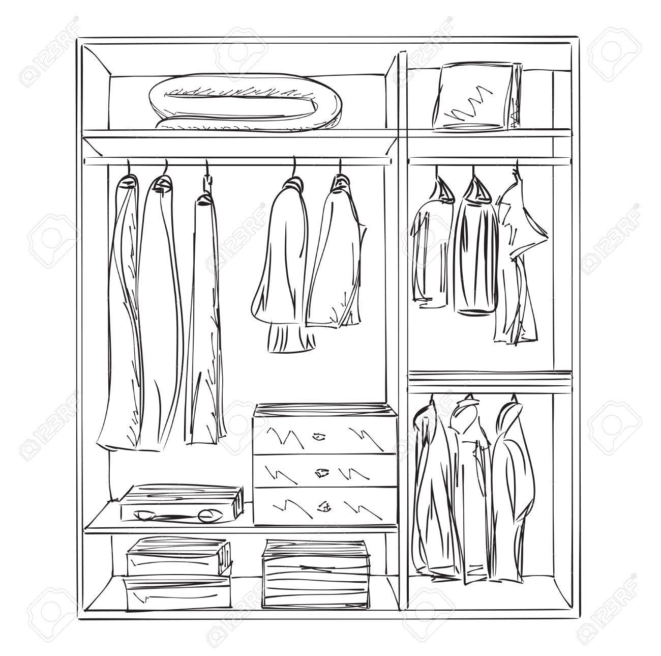 Kleiderschrank clipart  Hand Gezeichnet Kleiderschrank Skizze. Die Möbel Für Die Kleidung ...