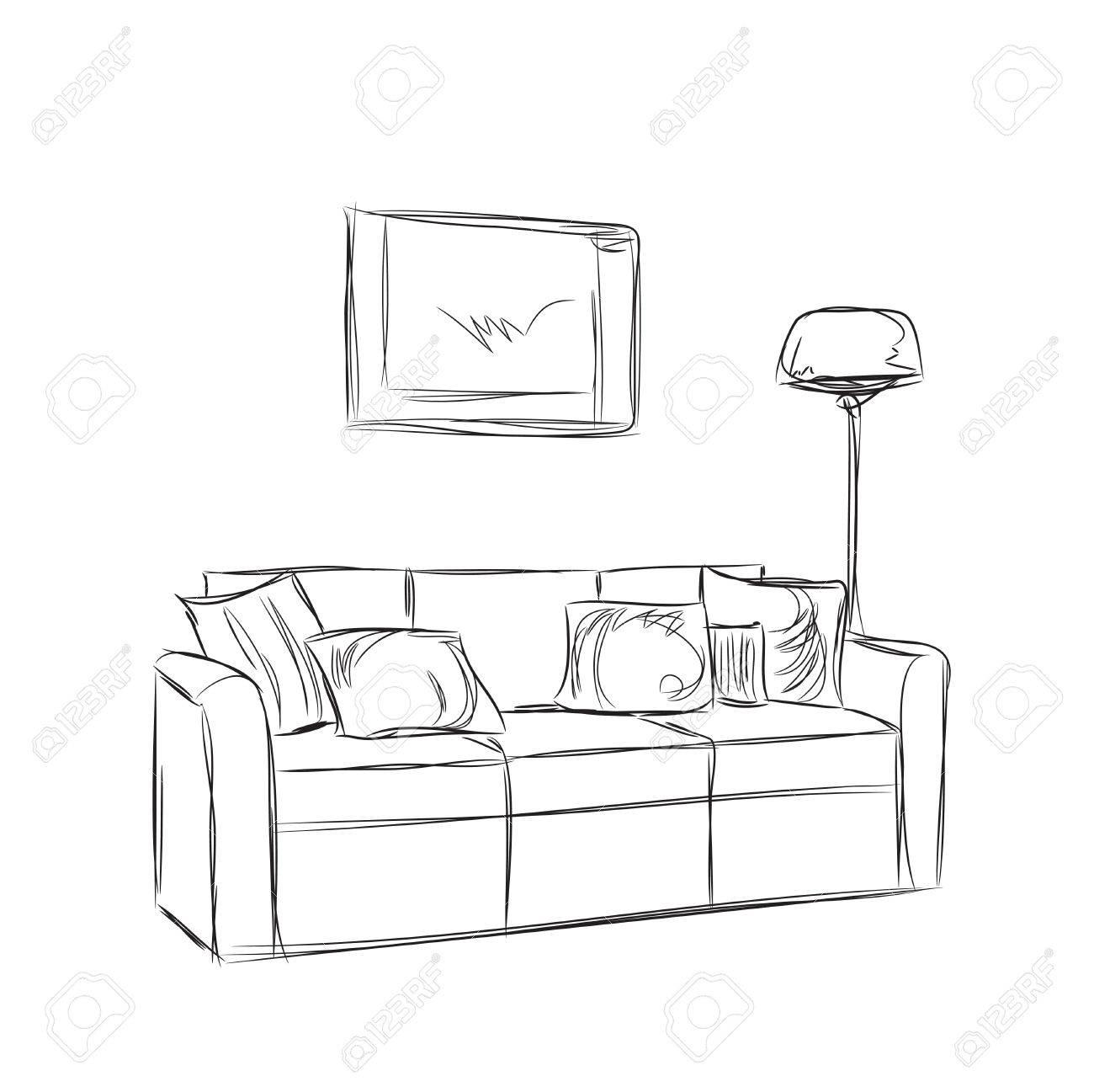 Modern Interior Room Sketch Hand Drawn Sofa Illustration Royalty