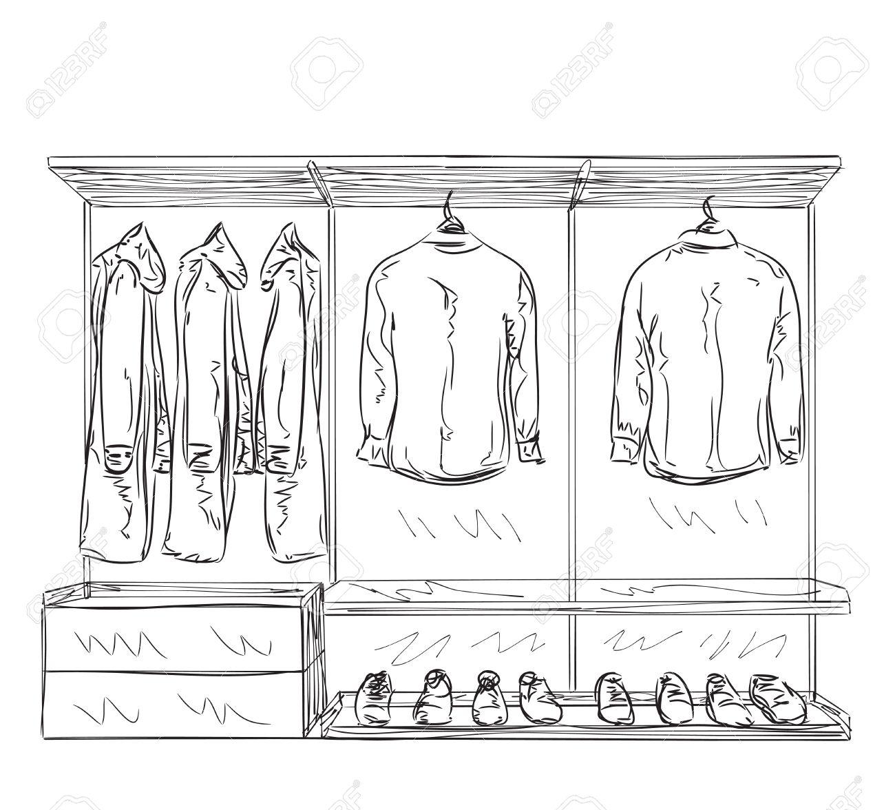 Schrank gezeichnet  Hand Gezeichnet Kleiderschrank Skizze. Zimmereinrichtung Mit ...