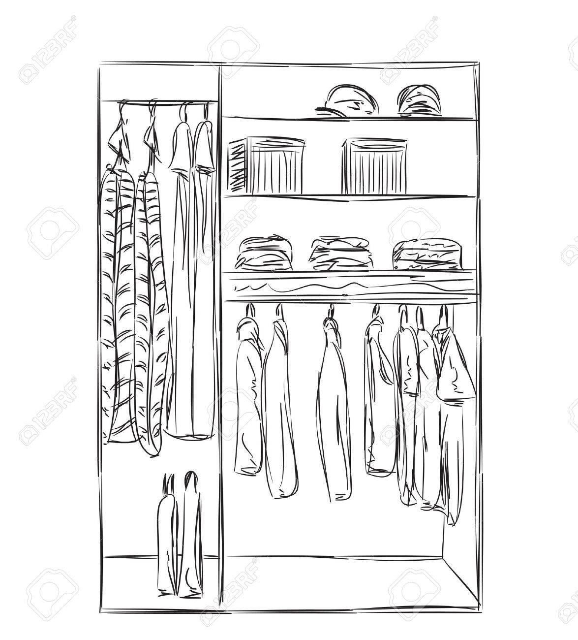 Kleiderschrank gezeichnet  Hand Gezeichnet Kleiderschrank Skizze. Zimmer Inter Mit Kleidung ...