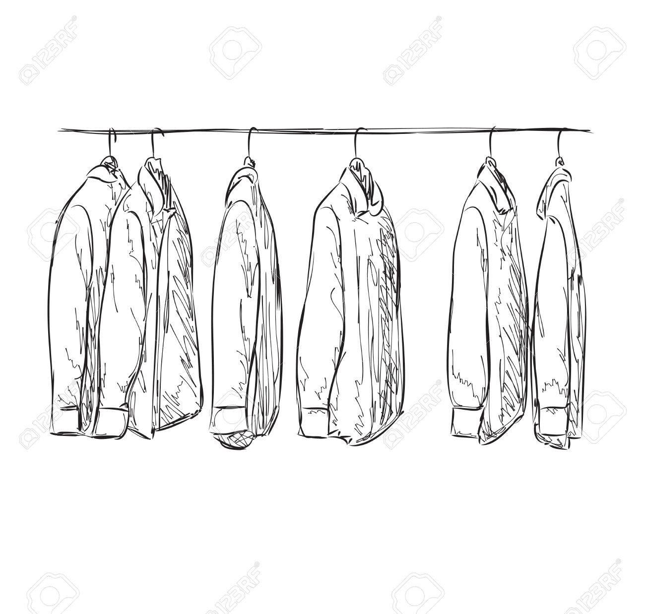Kleiderschrank gezeichnet  Kleiderständer Clipart | tentfox.com
