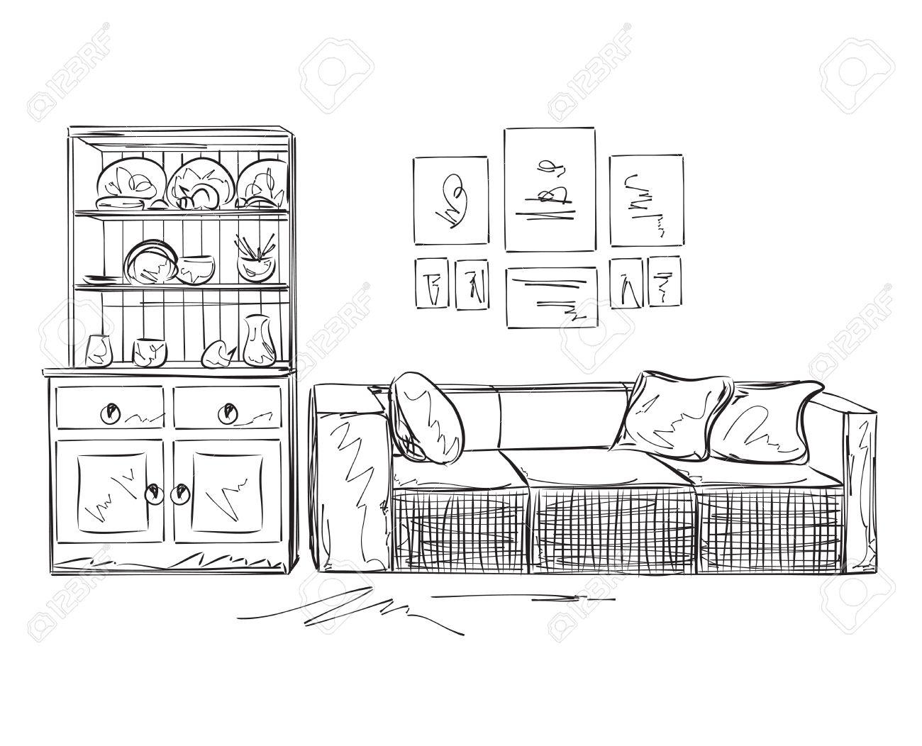 Sofa gezeichnet  Moderner Innenraum Skizze. Hand Gezeichnet Sofa Und Möbel ...