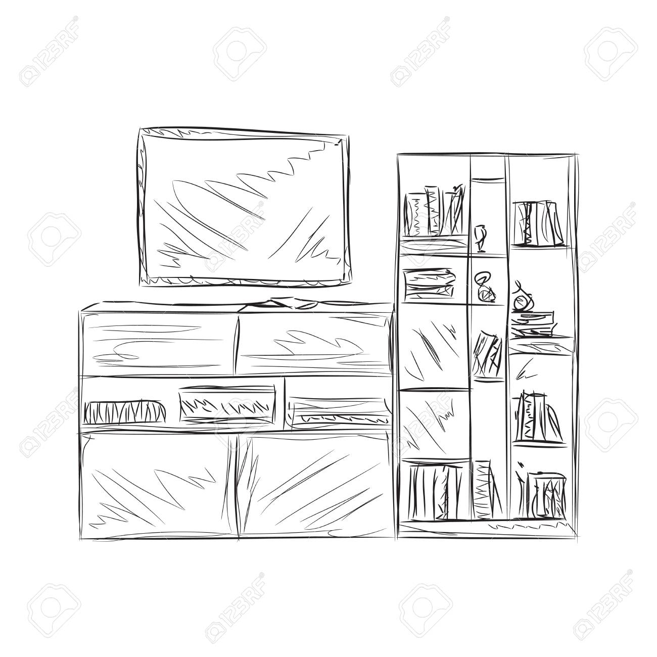Hand Drawn Bookshelf Furniture Sketch Room Interior Stock Vector