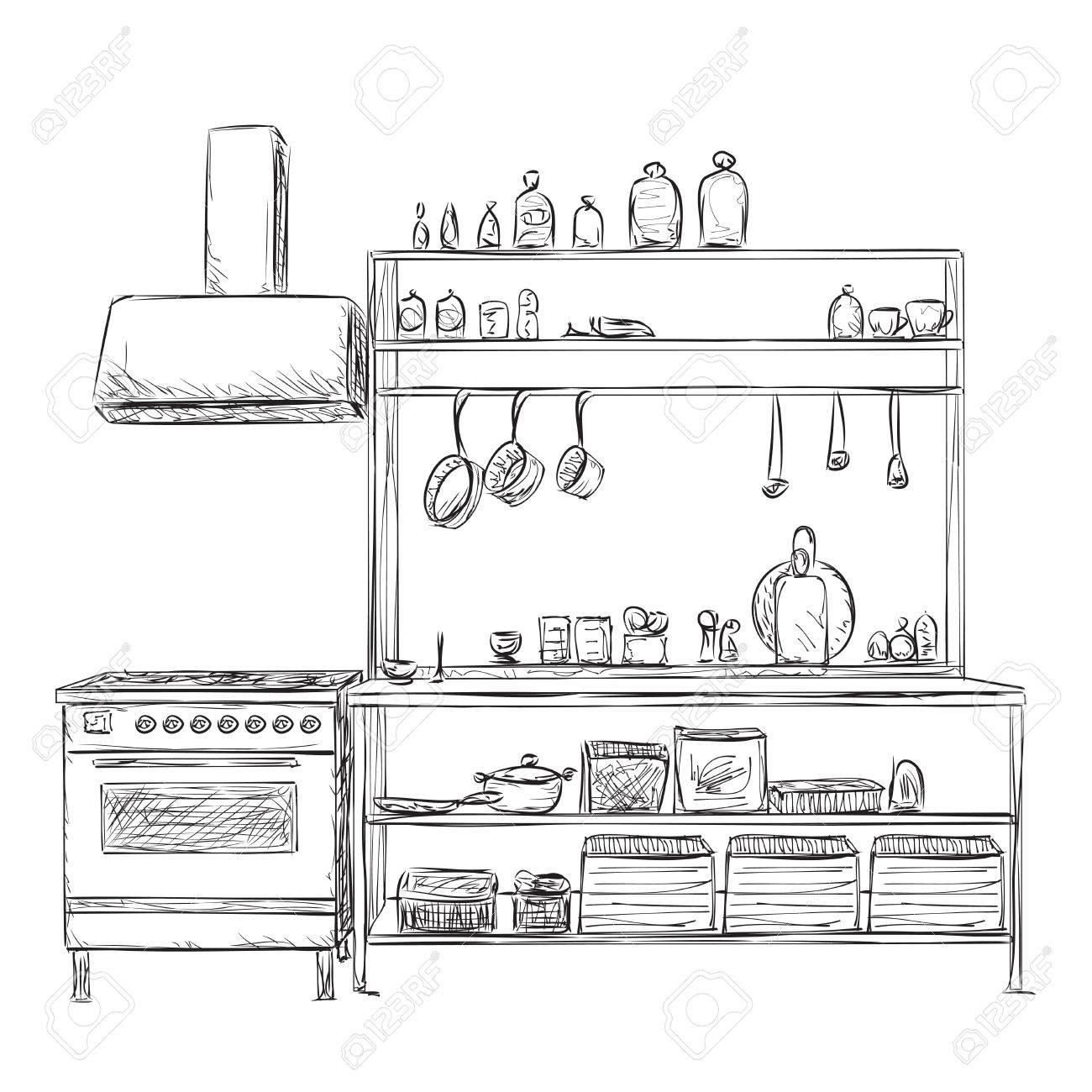 Schrank gezeichnet  Küchenschrank, Küchenregal. Hand Gezeichnet Innen Lizenzfrei ...