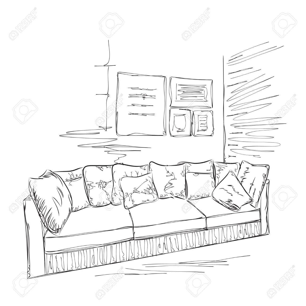 Sofa gezeichnet  Zimmer Inter Skizze. Hand Gezeichnet Sofa Und Bilder Lizenzfrei ...