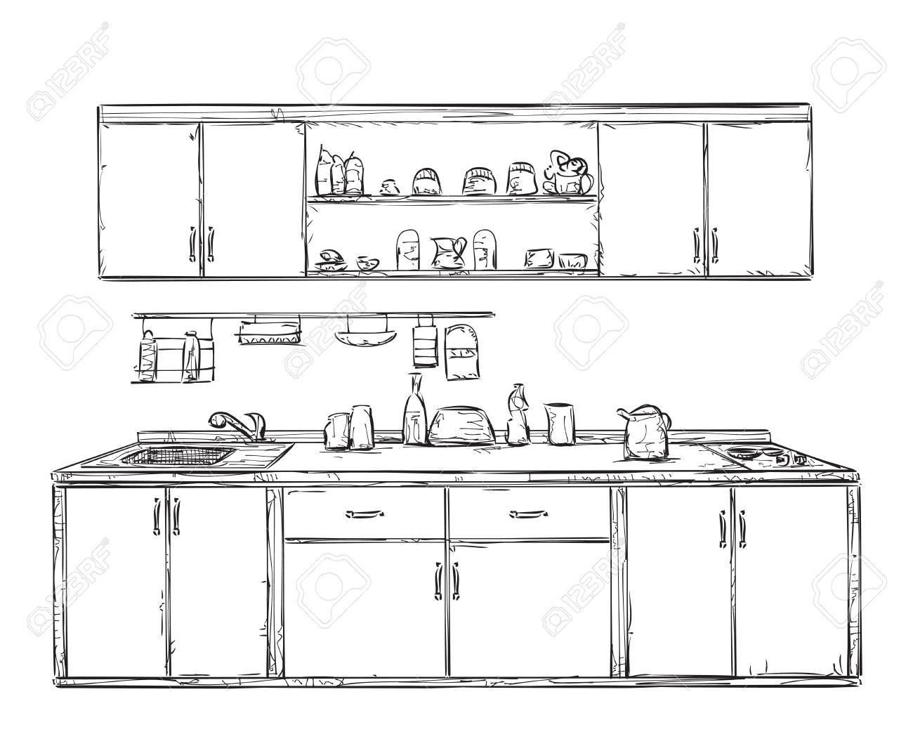 Schrank gezeichnet  Küchenschrank, Küchenregal, Von Hand Gezeichnet Inter Lizenzfrei ...