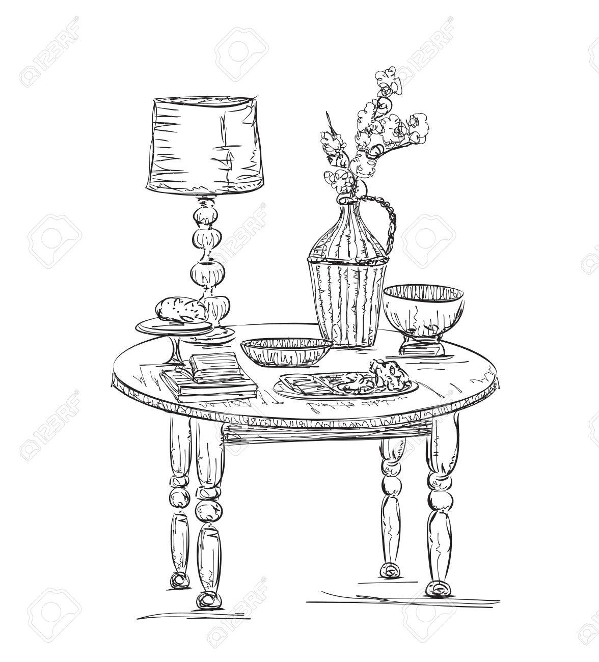 Table setting set. Weekend breakfast or dinner. Hand drawn dishes sketch Stock Vector -  sc 1 st  123RF.com & Table Setting Set. Weekend Breakfast Or Dinner. Hand Drawn Dishes ...