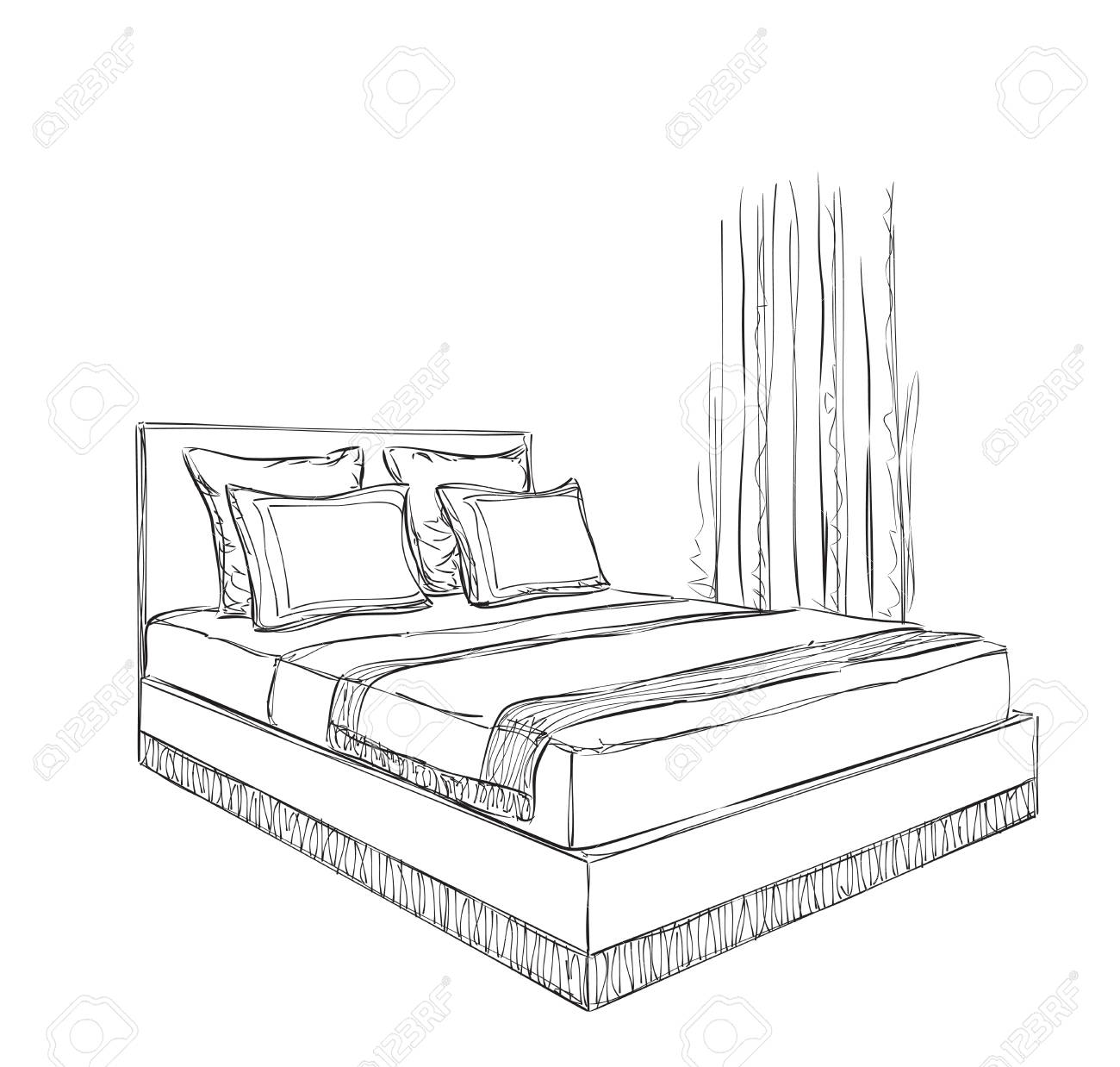 Interior design of the classic bedroom with double bed - 57445338