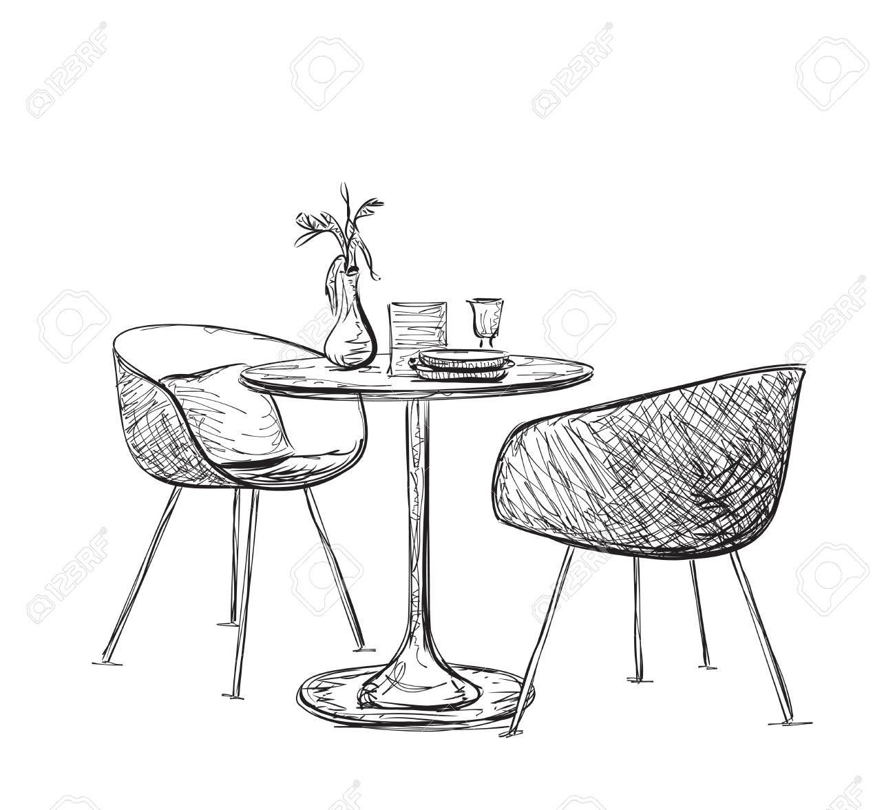 Delicieux Sketch Of Modern Interior Table And Chairs. Hand Drawn Furniture Stock  Vector   57445344