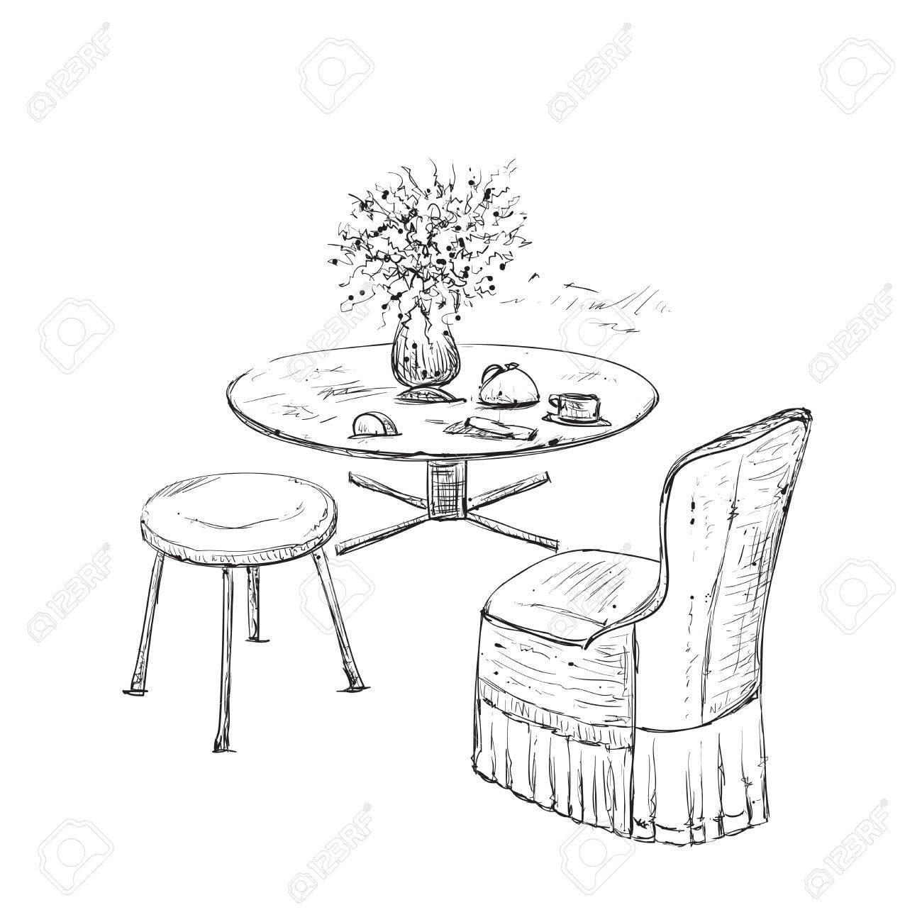 Esstisch gezeichnet  stühle für zimmer | Möbelideen