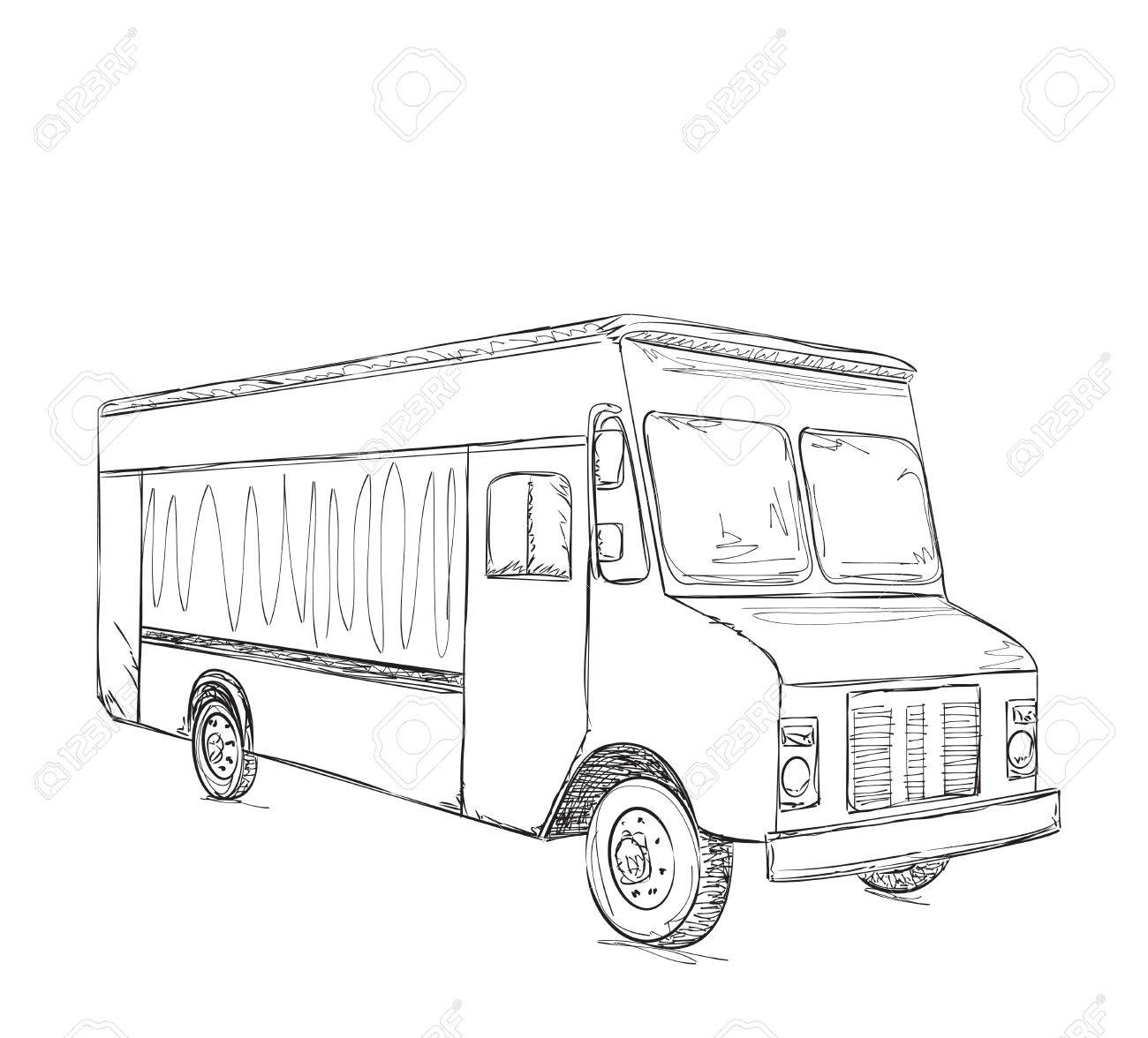 Hand Drawn Food Truck. Delivery Service Sketch Royalty Free Cliparts ...