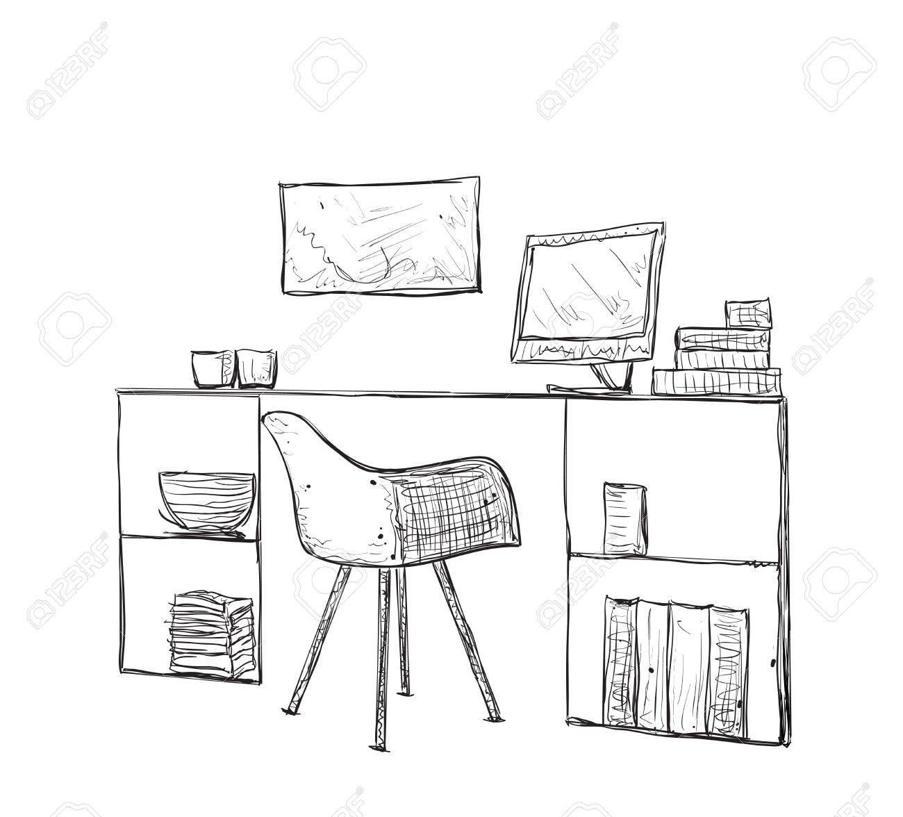Lieu La Travail À Et Main Mobilier BureauChaise Table Croquis De Dessiné H2W9IED
