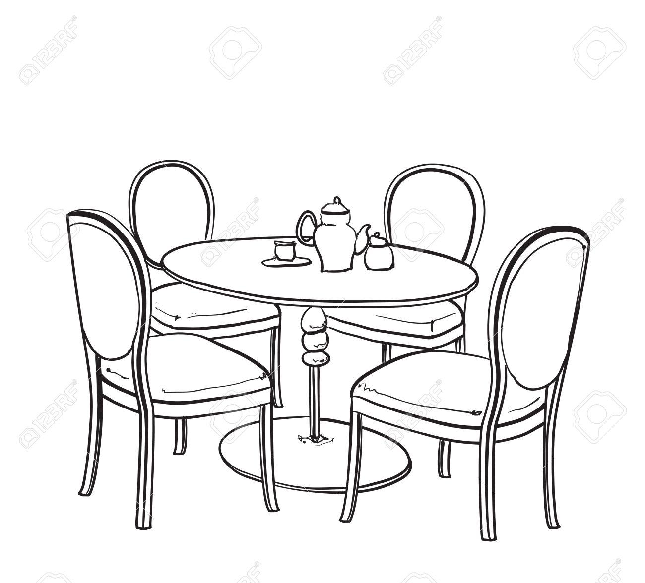muebles en café del verano. silla y mesa de dibujo ilustraciones ... - Dibujo De Muebles