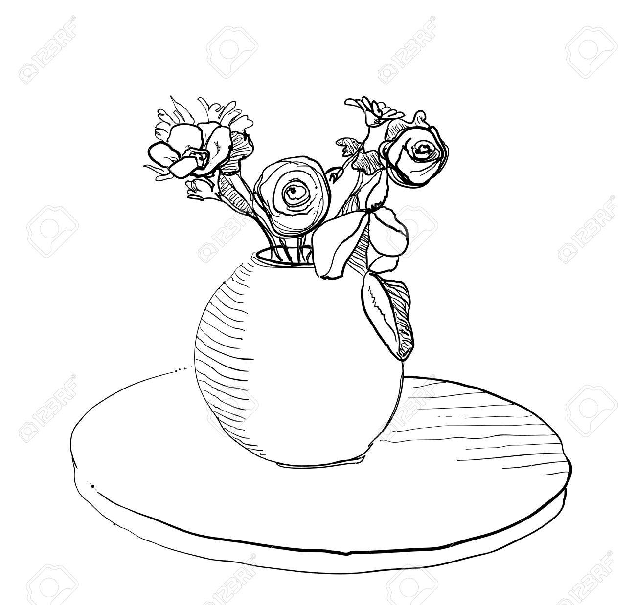 Bouquet Flowers In Vase Hand Drawn Black Lines Isolated On White ...