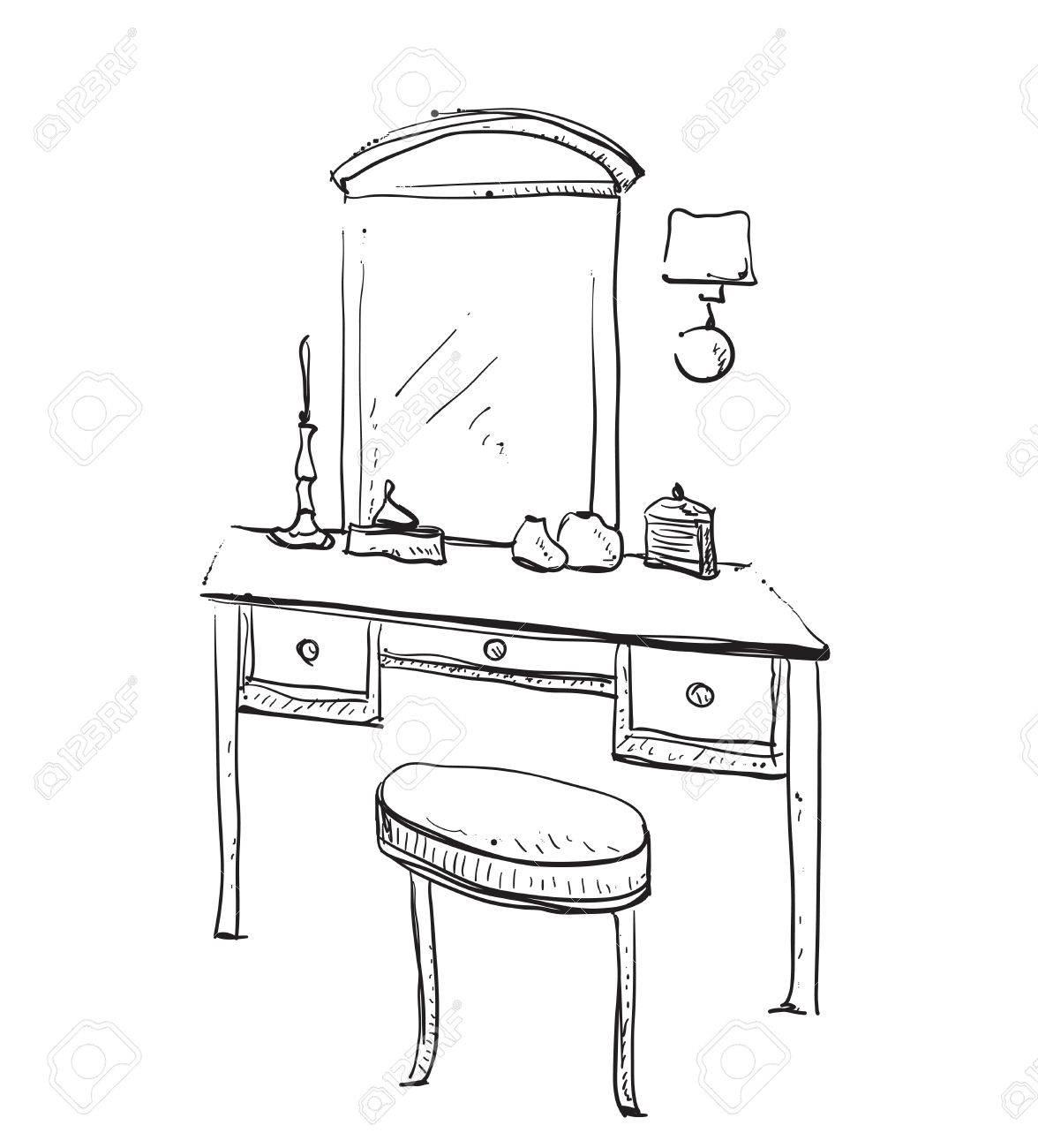 Sessel gezeichnet  Hand Gezeichnet Stuhl, Tisch Und Spiegel. Schminktisch Lizenzfrei ...