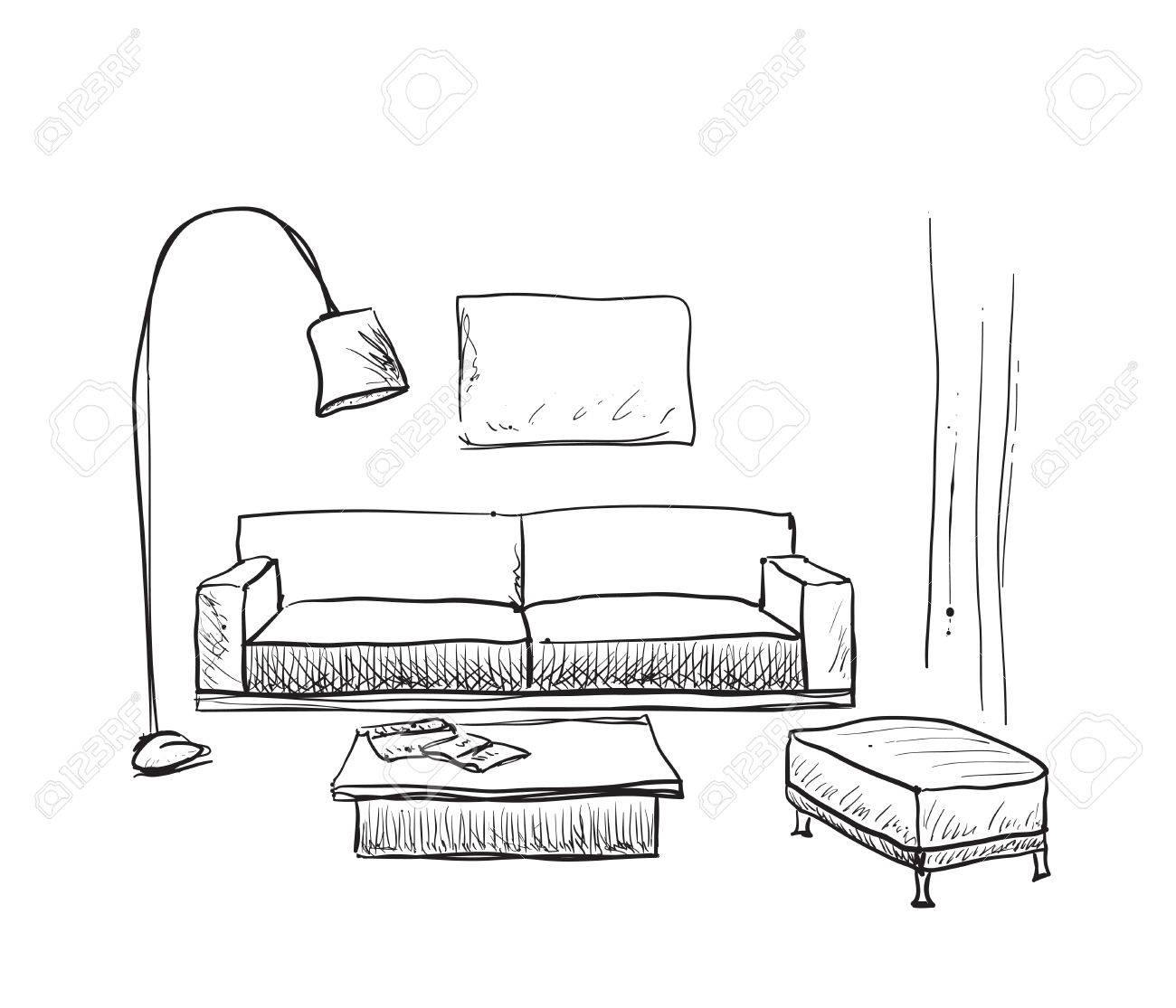 Attirant Hand Drawn Room Interior Sketch. Furniture Sketch Stock Vector   61972859