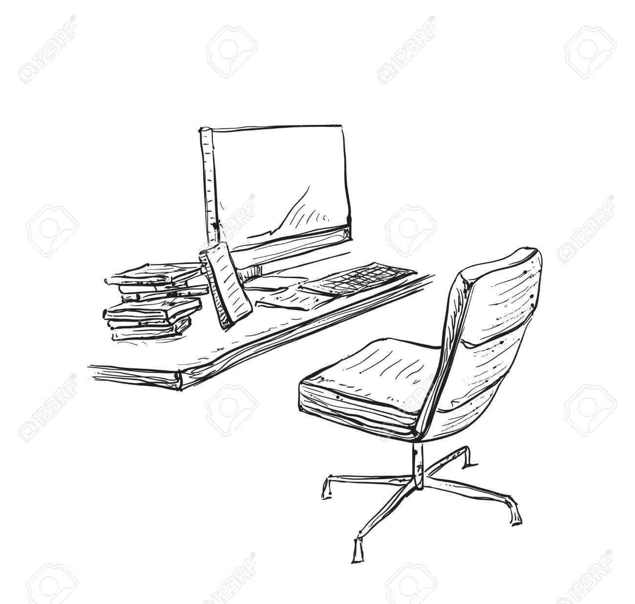 Hand drawn workplace. Chair and computer sketch
