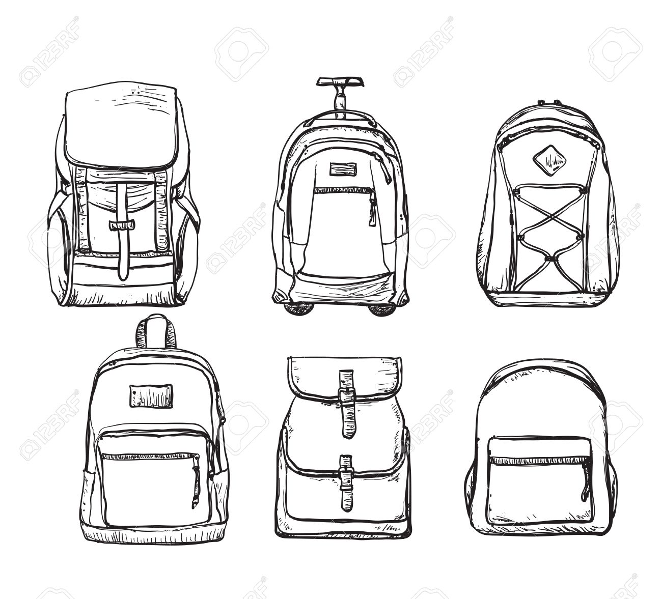 A set of different types of backpacks. Bag for travel Stock Vector -  63375897 d226322d8538d