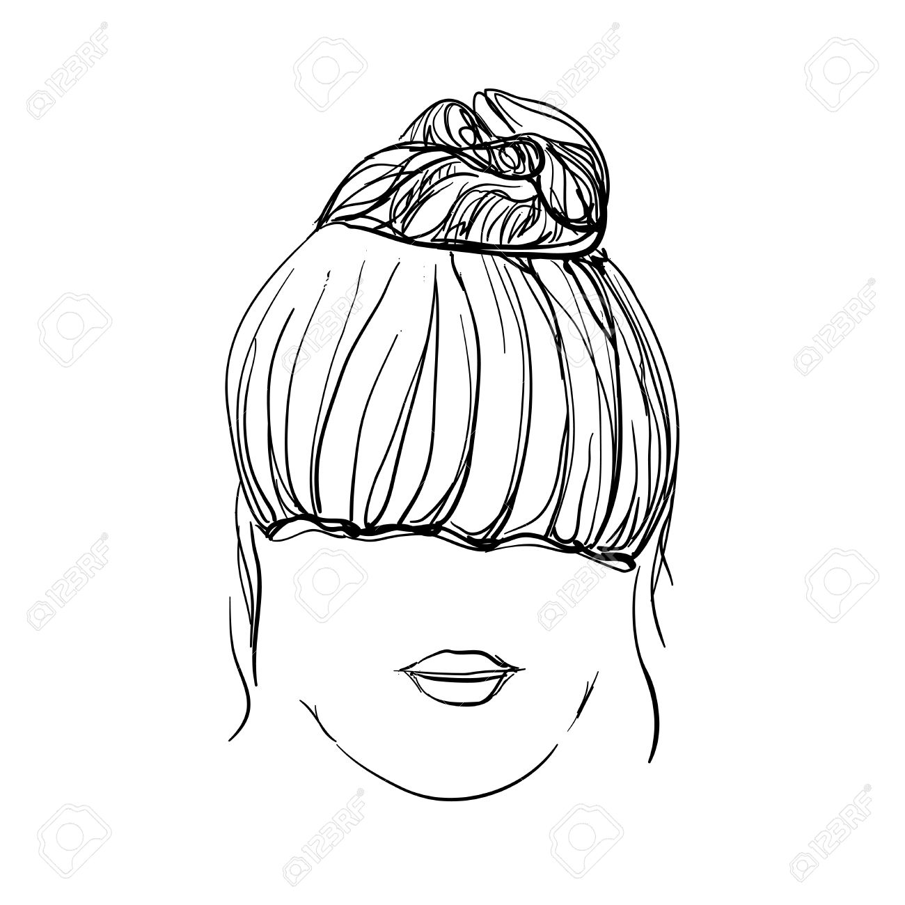 girl with messy bun hand drawn hairstyle royalty free cliparts