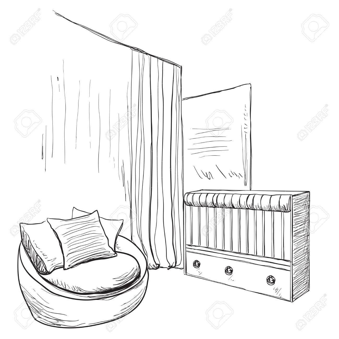 Hand Gezeichnet Kinderzimmer Mobel Skizze Babybett Standard Bild