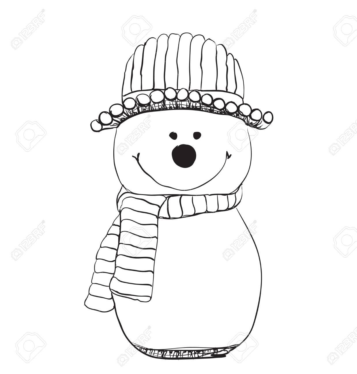 Icono De Muñeco De Nieve En Doodle Boceto De Líneas. Nieve Invierno ...