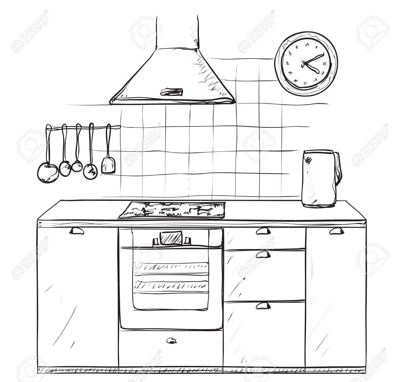 Hand gezeichnet Küche. Möbel Skizze.