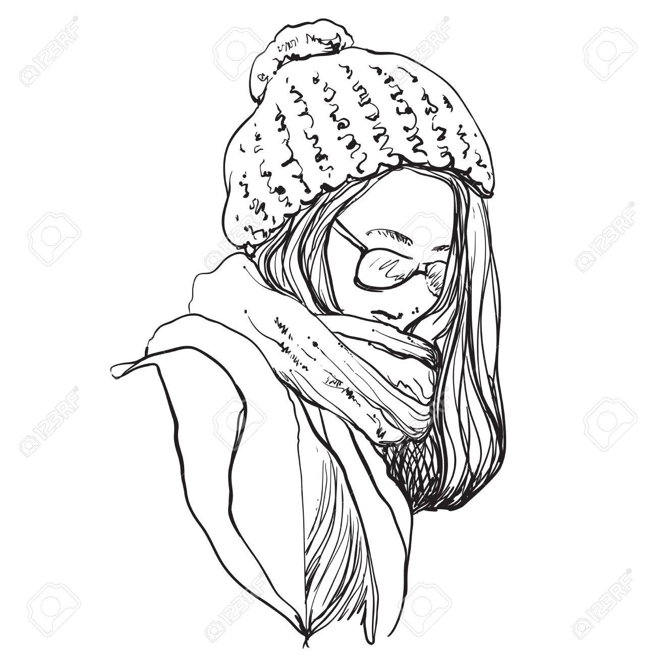 Beautiful Woman In Winter Scarf And Hat Fashion Illustration Royalty Free Cliparts Vectors And Stock Illustration Image 66960015