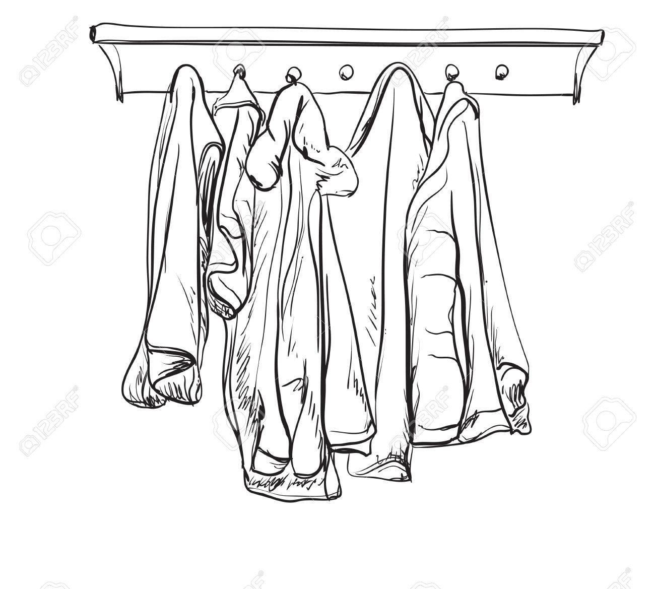 Schrank gezeichnet  Hand Gezeichnet Kleiderschrank Skizze. Kleidung Auf Den Bügeln ...