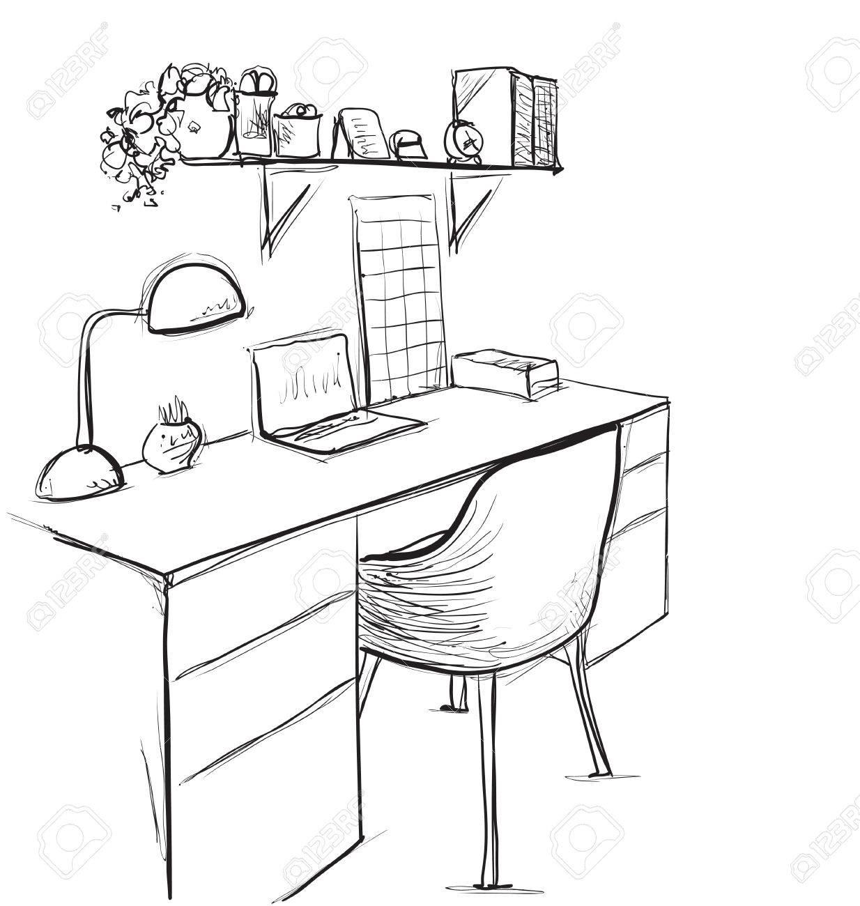 Croquis dessiné à la main de l\'espace de travail moderne avec table de  travail.