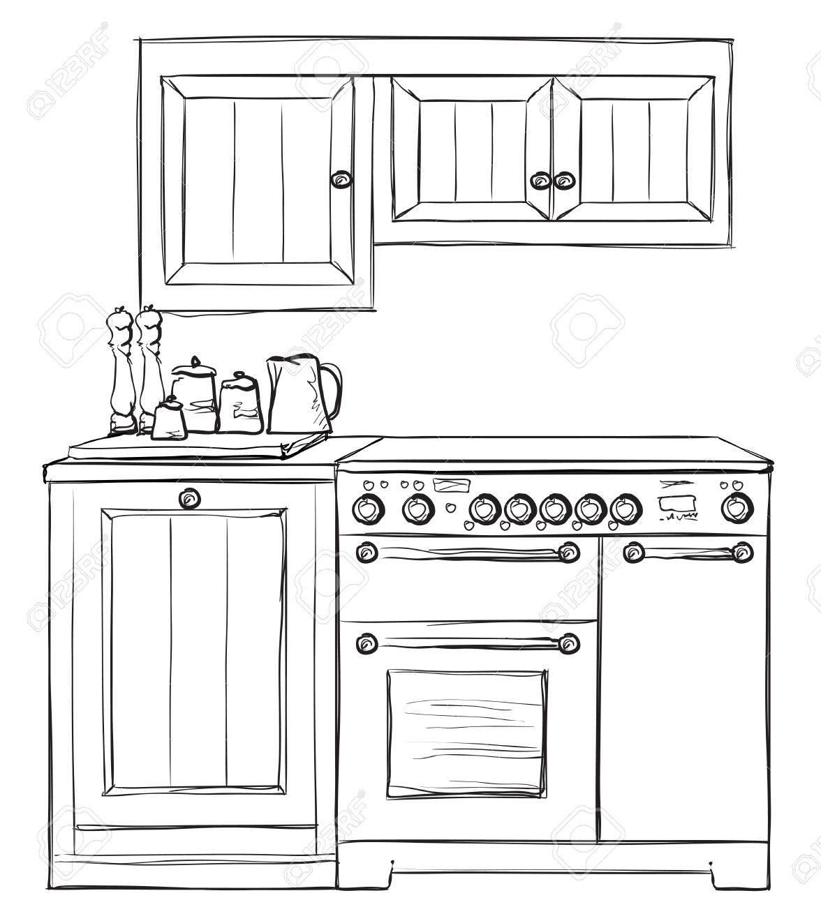 Küchenmöbel Skizze Hand Gezeichnet Schrank Innere Lizenzfrei