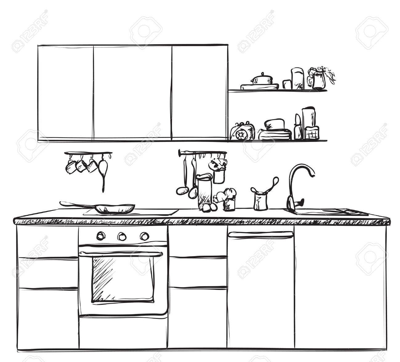 Cocina Interior Dibujo, Ilustración Vectorial. Esbozo De Muebles ...