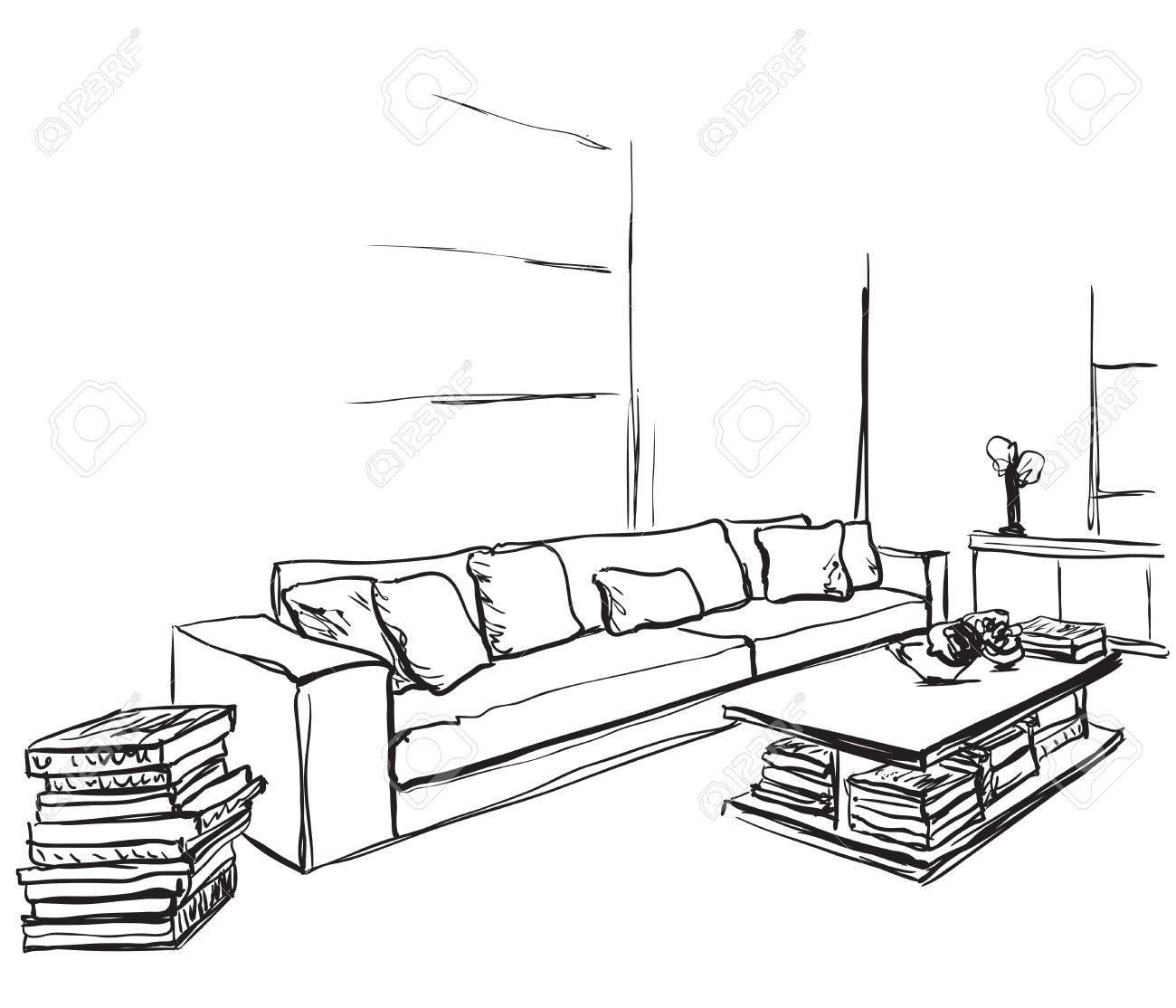 Dibujado Y Croquis Ventana Habitación Mano InteriorSilla Yg6fy7b