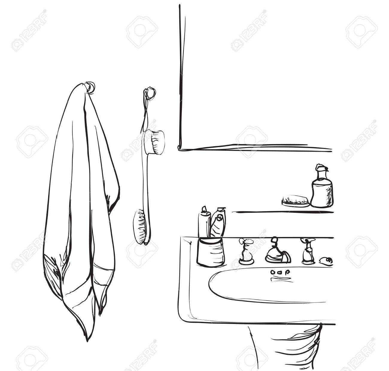 hand mirror sketch. Hand Drawn Bathroom Washbasin And Mirror Sketch Element. Stock Vector - 75491568 C