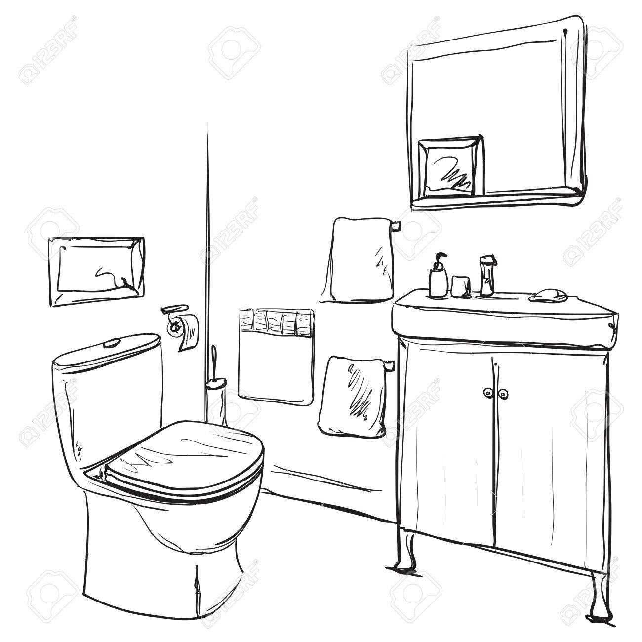 Hand drawn Bathroom. Washbasin and furniture sketch on neat presentation. - 75491815