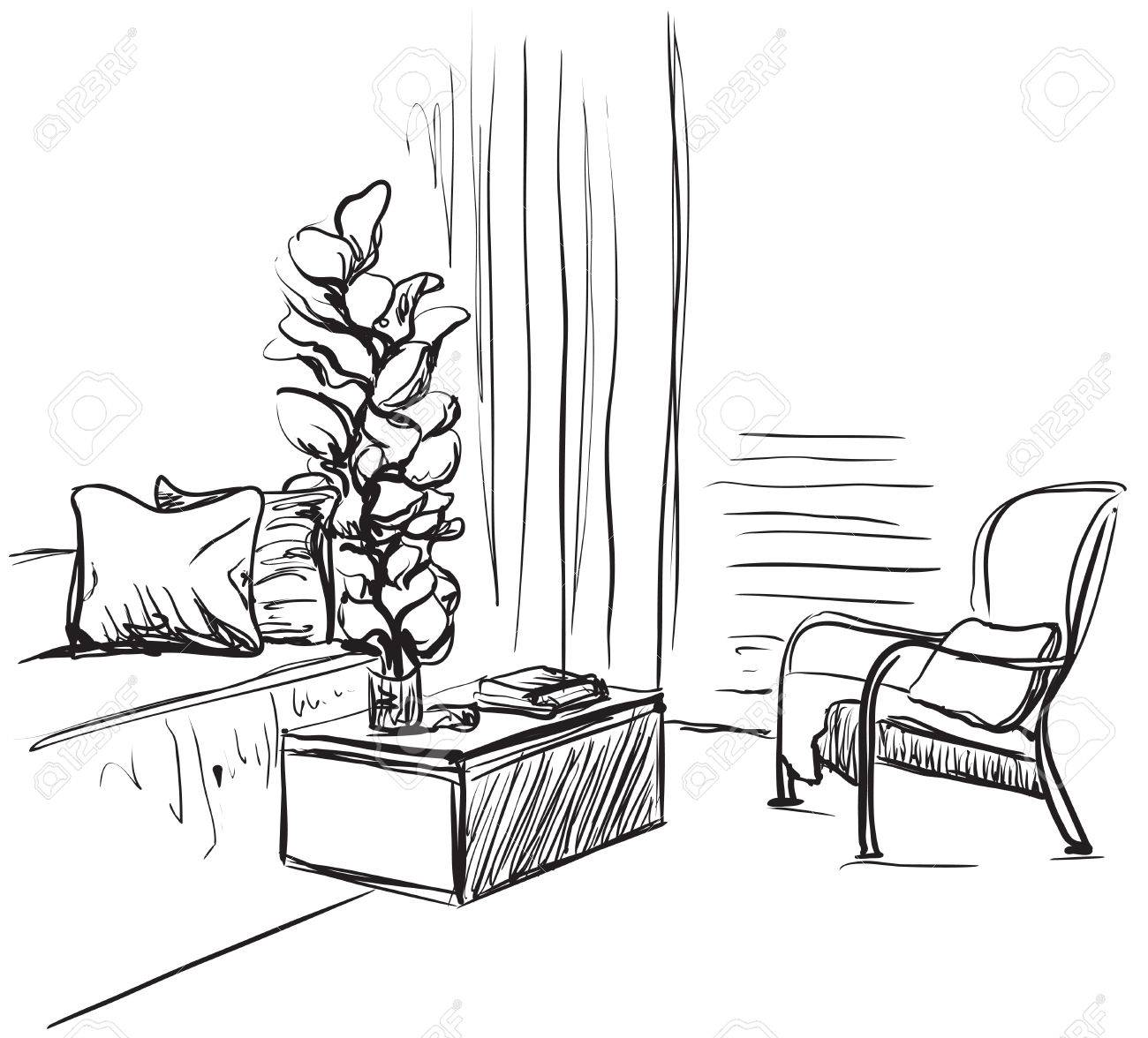Hand Drawn Room Interior Sketch. Chair, Sofa And Other Furniture Stock  Vector   77771861