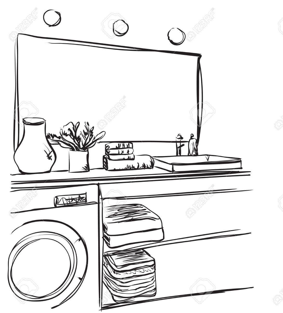 hand mirror sketch. Hand Drawn Bathroom Washbasin Mirror And Other Furniture Sketch Stock Vector